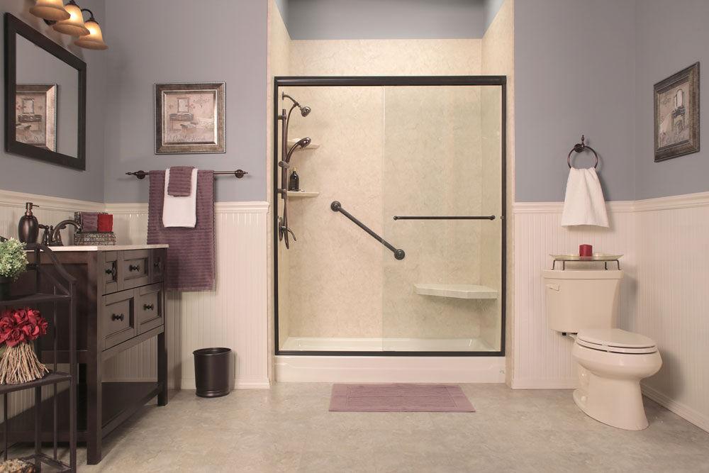 beautiful stylish shower glass door enclosure in remodeled bathroom