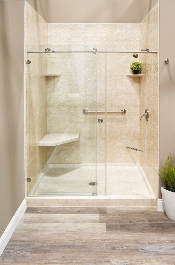 glamerous shower in a newly remodeled bathroom